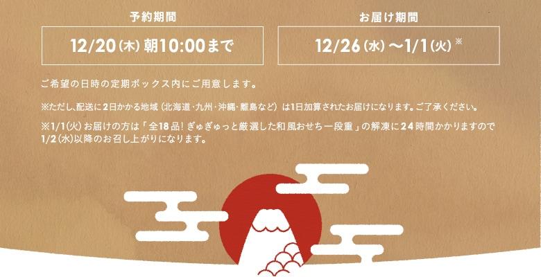 予約期間:12/20(木)朝10:00までお届け期間:12/26(水)〜1/1(火)