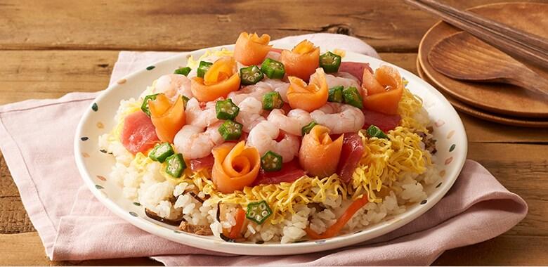 サーモンのお花で!海鮮ちらし寿司