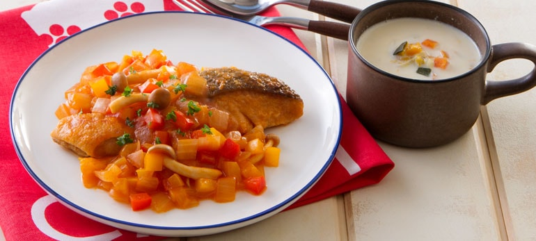 Kit2人前/鮭のムニエル 4種野菜のソース