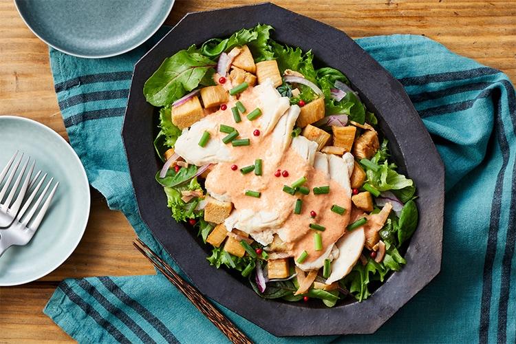 [Kit]渡部流 蒸し鶏と切り株えのきの明太サラダ