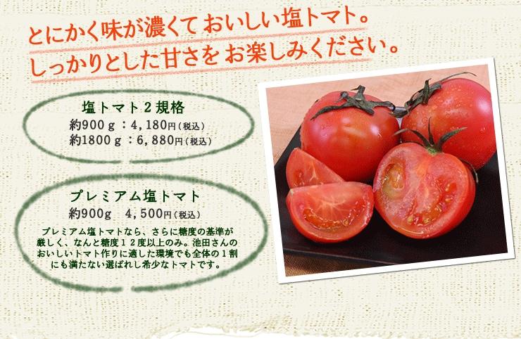 とにかく味が濃くておいしい塩トマト。