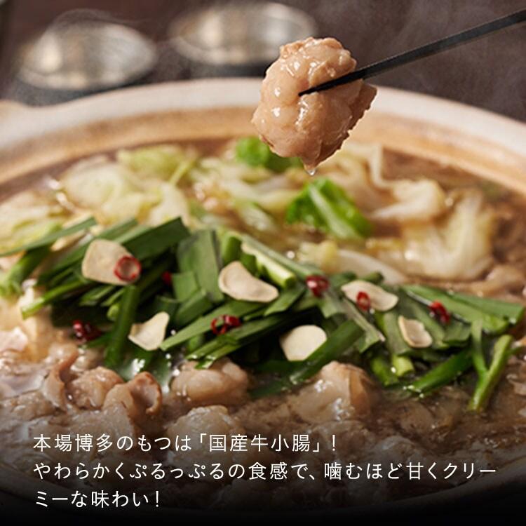 本場博多のもつは「国産牛小腸」!やわらかくぷるっぷるの食感で、噛むほど甘くクリーミーな味わい!