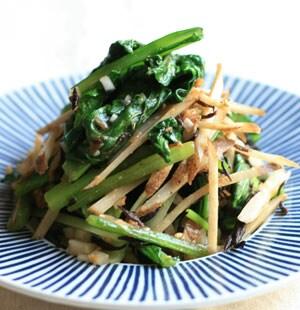 小松菜とごぼうのシャキシャキサラダ