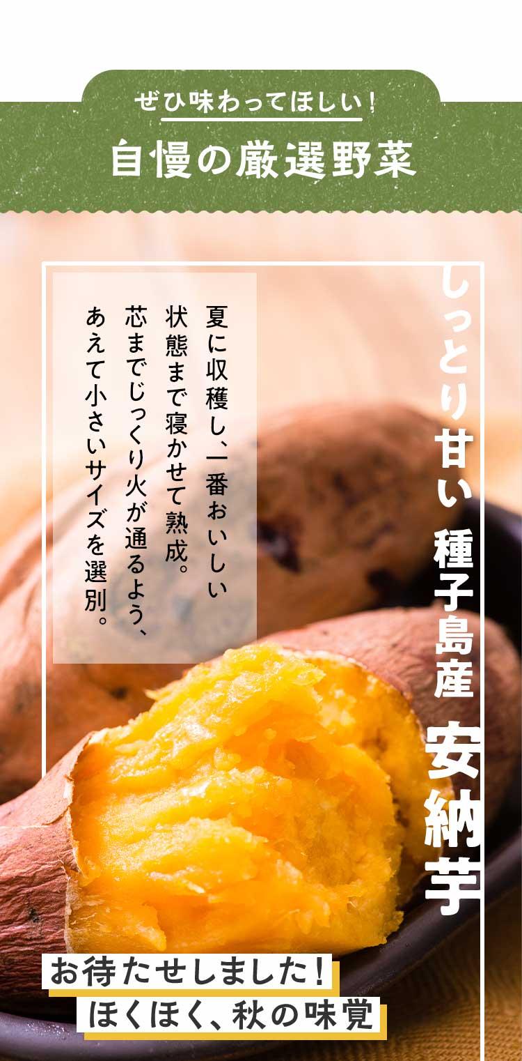 ぜひ味わってほしい!自慢の厳選野菜熟成安納芋